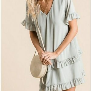Dresses & Skirts - Sage Green Woven Ruffled Detailed Dress
